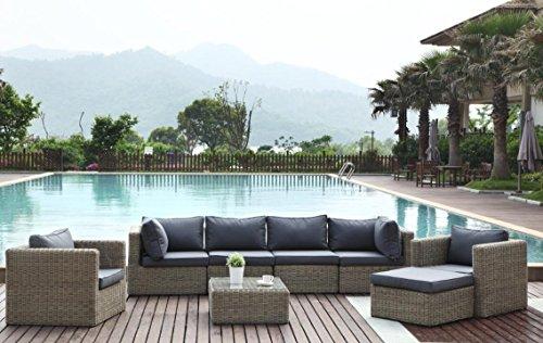 Au jardin de Chloé Liberty Cool Plus Salon de Jardin modulable en résine tressée Ronde Prestige, Osier Naturel