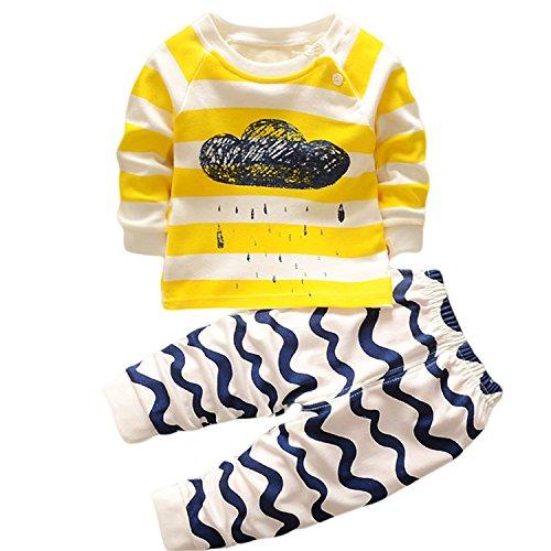 Hengsong Clouds Impression Garçons Filles Coton Pyjama Bébé Four Seasons sous-vêtements Ensembles Enfants (90cm)