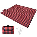 Hewolf Extra Large Picnic Blanket - Waterproof 79×79 Picnic Mat Folding Portable Tote for Family Camping Concert Indoor and Outdoor (Striped Picnic Blanket, 79×79)