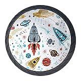Tiradores redondos para cajones, cohetes, planetas, estrellas, cometas y armarios de cocina, 4 paquetes para decoración del hogar