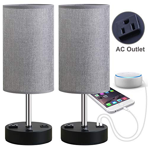 Focondot Table Lamp, Bedside Nightstand Lamps with Dual USB Charging Ports & an AC Outlet, USB Lamp Set of 2 with Gray Cylinder Shade, Stylish Desk Lamp for Bedroom Living Room Office (Grey)