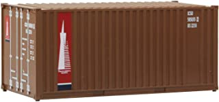 Walthers  Scenemaster HO Scale Model of  TransAmerica (Brown, red, Blue, White) 20' Corrugated Container with Flat Panel