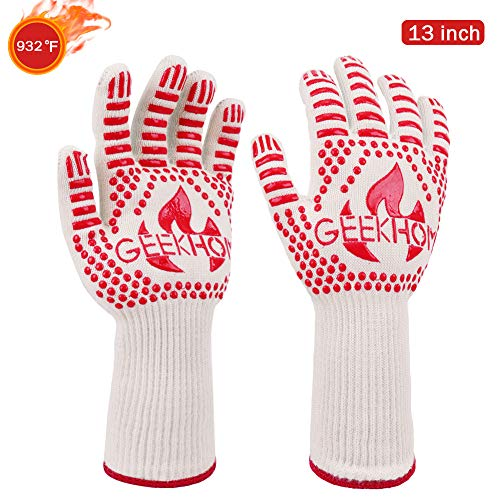 GEEKHOM Oven Gloves1472℉ Extreme Heat Resistant EN407 Certified Grill Gloves 13 Inch Flexible Kevlar Cooking Gloves for BBQ Barbecue Grilling Baking Red