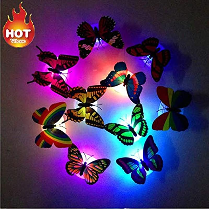 Shkoid 3D DIY Decal Wall Stickers Multicolor Crafts Wall Decal Home Decor Rainbow Butterfly Stickers Room Decor For Kids Room Decoration