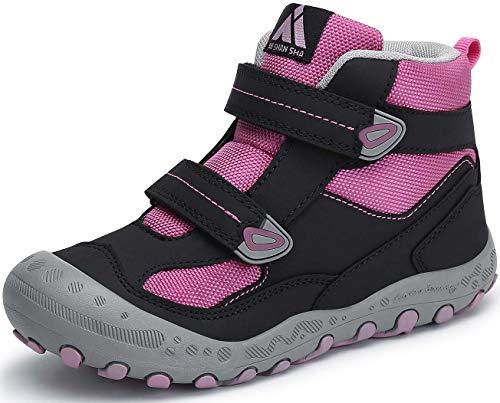 Mishansha Unisex-Kinder Wanderschuhe Jungen Outdoor Trekkingschuhe Leicht Atmungsaktiv Kinderschuhe Schwarz Pink Rosa Gr.25