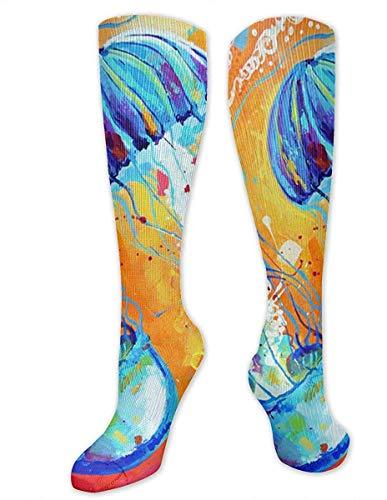 NA mannen & vrouwen Casual knie hoge buis sokken halverwege kalf sokken kostuum Cosplay sokken meisjes nieuwigheid sokken, aquarel oceaan zee kwallen kunst