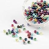 PandaHall - Lot de 400Pcs Perle en Verre Teint Nacre Perle Rond pour Fabrication de Bijoux Bracelet Collier, Couleur Melangee, 4mm, Trou: 0.5mm