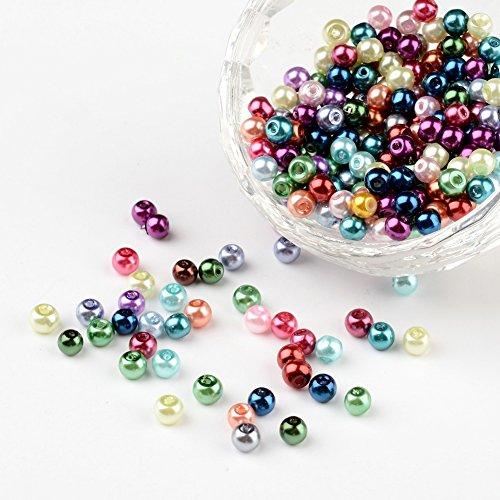 PandaHall – Lote de 400 perlas de cristal tintado nacarado perla redonda para fabricación de joyas, pulsera, collar, color melangee, 4 mm, agujero: 0,5 mm