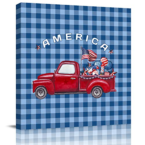HOMMOU Lienzo para pared, diseño de camión rojo con bandera americana en cuadrícula azul, para cocina, baño, sala de estar, dormitorio, 40,6 x 40,6 cm