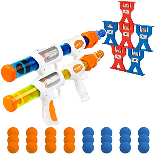 X TOYZ Shooting Games Toy Foam Blaster Guns for Kids, 2 Player Popper Air Toy Guns with 6 Shootings Targets and 24 EVA Foam Balls, Ideal Gifts for Kids Boys & Girls