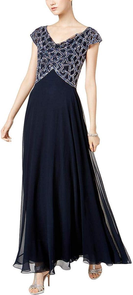 J Kara Women's Short Sleeve Cowl Neck Long Beaded Dress