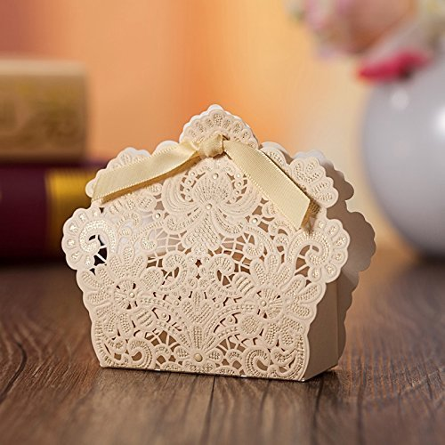 Zorpia® Laser Cut 50 X Wedding Candy Box With Ribbons Champagne Wedding Favor Boxes Wedding Favors Gifts Party Wedding Bridal Shower Decoration Favor Candy Boxes ZRA0168885
