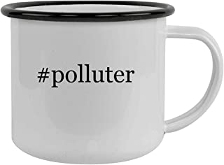 Rubber Docking #polluter - Sturdy 12oz Hashtag Stainless Steel Camping Mug, Black