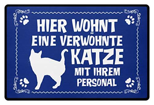 Shirtee .verwöhnte gato con personal - regalo gato dueños en soporte de gato - Felpudo azul real 60x40cm