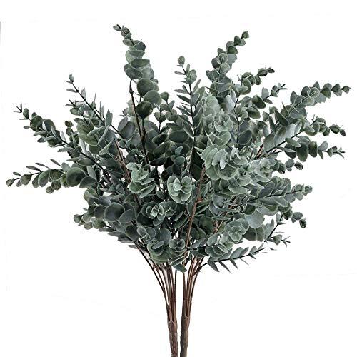 NAHUAA 2Pcs Künstliche Eukalyptus Pflanze Kunstpflanze Deko Pflanze für Balkon Zimmer Büro Flur Hochzeit Party Dekoration Garten Grün Grauen