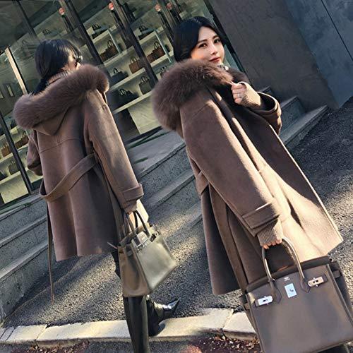 GDRFHJZ Office Lady Hooded Lange wollen jas sjerpen Single Breasted jas en jas Losse vrouwen jassen Herfst Winter
