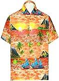 LA LEELA Herren Button-down Hawaiihemd Funky Tropische Druck Kurzarm Casual Strand Sommer Urlaub...