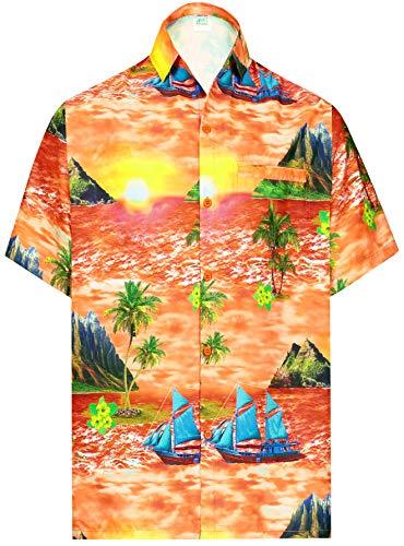 LA LEELA Playa de los Hombres Hawaiana del Hibisco de la Piscina Campamento del Grupo Lateral Aloha Surf Camisa de Crucero Naranja_AA399 XXL
