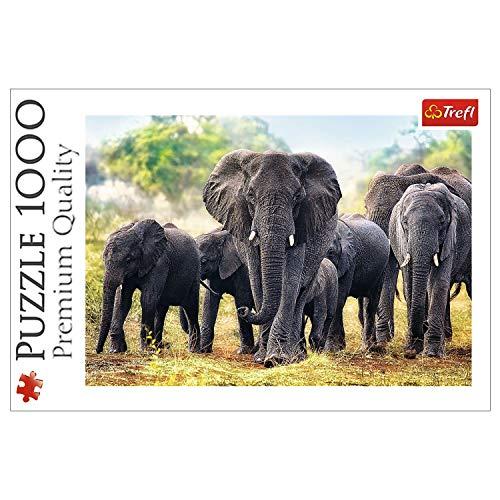 Trefl 10442 Puzzle Afrikanische Elefanten, 1000 Teile, Farbig