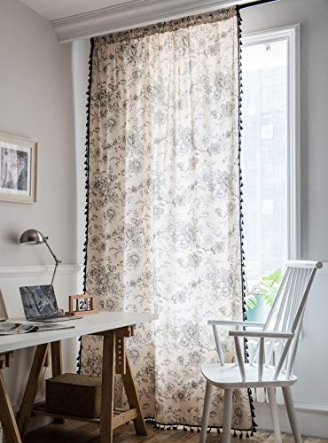 """Muccyy Boho Chic Cotton Linen Window Curtains with Tassel Floral Print Semi Blackout Curtains for Bedroom Living Room, 1 Piece,59"""" Wide 94"""" Long"""
