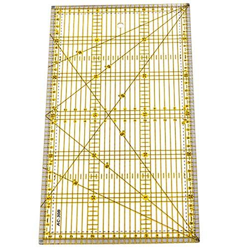 Baalaa Regla de Corte Regla de Edredón de Tela de Almazuela Multiuso Artesanía de Corte de Dibujo de Diseeo de Ropa DIY Regla Kit de Estera de Costura 30 X 15 Cm