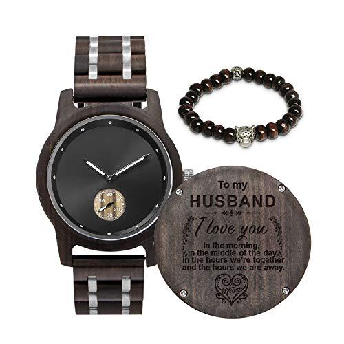 Customized Engraved Wooden Watch, Analog Quartz Movement Wood Watch for Men Husband...