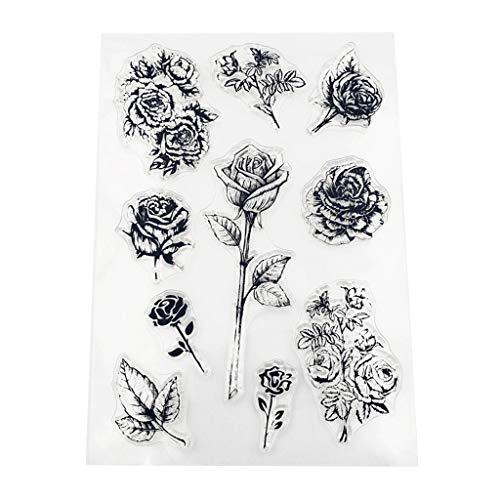 WuLi77 Silikon-Stempel mit Rosen-Blumen-Motiv, transparent, für Karten, Schablonen zum Basteln, Prägen, Fotoalbum, Basteln, Handarbeit