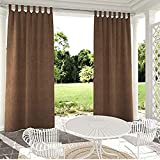 CHOiES record your inspired fashion Indoor/Outdoor Tab Top Curtain Waterproof Window Curtain Panel Drape for Patio, Pergola, Porch Bonus Rope Included (1 Panel) Brown