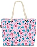 VOID Flamingo Palms Rosa Bolsa de Playa 58x38x16cm 23L Shopper Bolsa de Viaje Compras Beach Bag Bolso