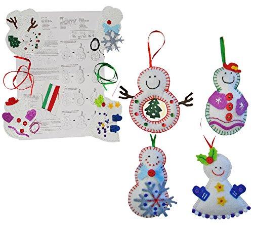 alles-meine.de GmbH Bastelset: 4 Stück: Schneemänner z.B. als Anhänger - zum Sticken, Nähen per Hand - Weihnachten Filz - Handarbeiten Filz Nähen Handarbeit - für Kinder + Erwach..