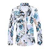 smejs Camisa de manga larga para hombre, diseño de flores, tallas grandes (color: blanco, tamaño: 6XL Código)