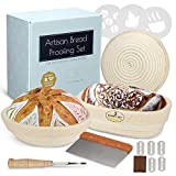 HBA Artisan Bread 3 Banneton Proofing Basket Set, Complete Sourdough Loaf Making Kit w 3 Baskets Oval and 2 Round 9 and 10 inch, Linen Liner Metal Dough Scraper Scoring Lame Flouring Stencils, Blades
