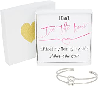 Bridesmaid Gifts - Tie The Knot Mother of The Bride Cuff Bracelet with Gift Box, Double Love Knot Cuff Bracelet, Wedding Gift Set