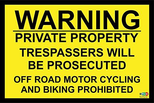 Waarschuwing privé eigendom overtreders zullen worden vervolgd off road motor fietsen en fietsen verboden veiligheidsbord - Zelfklevende sticker 300mm x 200mm
