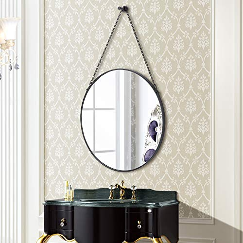 SIMMER STONE Round Wall Mirror, Metal Framed Mirror with Hanging Chain, Decorative -