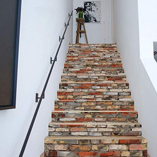 SQINAA 3D Peel and Stick Escaleras Calcomanías Autoadhesivas para Azulejos Calcomanías murales de escaleras para decoración de la Tienda de la Sala de Estar (7.08 x 39.3 Pulgadas / 13PCS),C