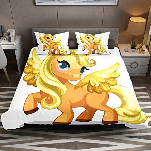 Juego de funda de edredón de microfibra de fácil cuidado con diseño de unicornio dorado brillante y princesa, juego de funda de edredón de 2 piezas con cremallera para niños y niñas