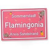 Flamingo Kunststoff Schild - Flamingonia, kleines persönliches Geschenk für sie - süße Deko,...