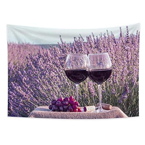 Copa de vino tinto flor mar tapiz de pared manta colgante de pared dormitorio decoración del hogar alfombra de playa alfombra bohemia 150x100cm