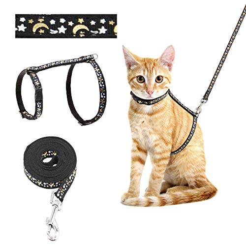 Cat Harness and Leash for Walking Escape Proof Adjustable Safety Kitten Harness Leash with Popular Golden Moon and Star Pattern