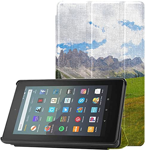 Funda para Tablet Fire 7 The Beautiful Alps At Sunset Fundas para el Nuevo Kindle para Tablet Fire 7 (novena generación, versión 2019) Ligero con Reposo/activación automático