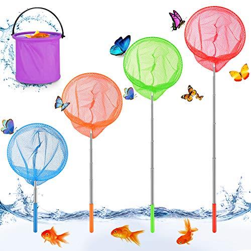 Sporgo Kinder Schmetterling Net,Teleskop Kinder Kescher,4 er Klein Fangnetz Outdoor 1er Eimern, Ausziehbar Schmetterlingsnetzund für angen von Insekten Angeln Garten Pool Outdoor Gartenaktivitäten