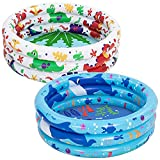 34'' Dinosaur & Ocean Inflatable Kiddie Pool Set, 2 Pack Summer Fun Swimming Pool for Kids Water Pool Baby Pool Pit Ball Pool for Ages 3+