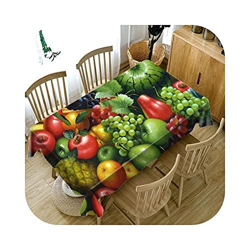 ETWJ Mantel 3D con diseño de cereza/mango y fruta, lavable a prueba de polvo, rectangular, redondo, para mesa de comedor, estilo A, 152 x 259 cm
