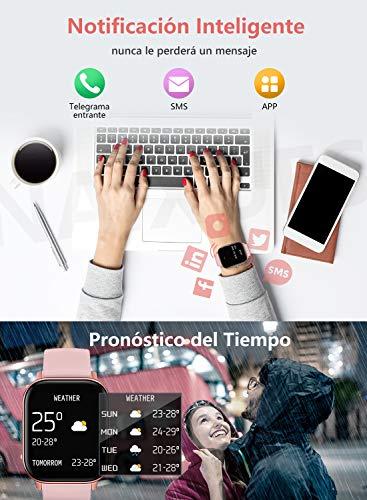 """NAIXUES Smartwatch, Reloj Inteligente Impermeable IP67 Reloj Deportivo 1.4"""" Pantalla Táctil Completa con Pulsómetro, Monitor de Sueño, Podómetro, Notificaciones para Mujer Hombre (Negro) 8"""