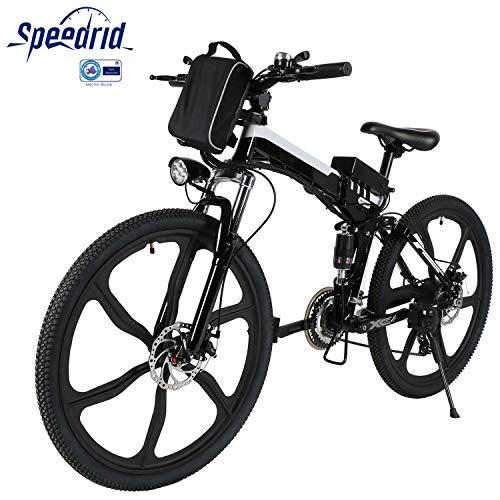 Speedrid Elektrofahrrad Faltbares e Bike 26 Zoll Reifen Elektrisches Fahrrad Ebike mit 36V 8Ah/12Ah Lithium-Batterie 250W bürstenlosem Motor Shimano 21 Gang