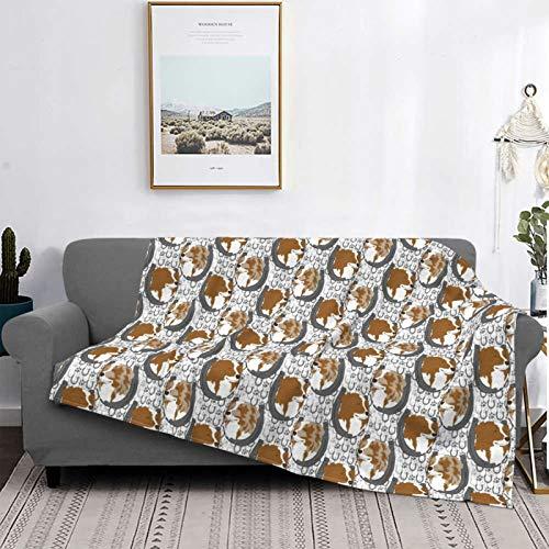Manta de forro polar ultra suave para decoración del hogar, manta de franela antipilling para sofá, cama, campamento de 60 x 50 pulgadas, retratos bicolor herradura de pastor australiano