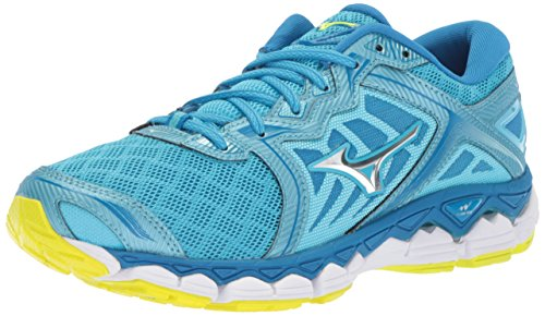 Mizuno Running Women's Wave Sky Running Shoes, Aquarius-Silver, 7 B US