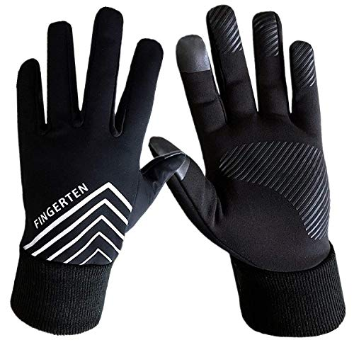 Running Gloves Men Women Run Liner Fleece Warm Winter 3M Night Gear, Touch Screen Windproof Grip Pair with Free Earband Gift (Large)