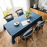 Pahajim Mantel Estilo Minimalista Moderno Mantel Color Liso Manteles Impermeables de Lino Fáciles de Limpiar Antimanchas Lavable Mantel (Azul, Rectangular/Oval,140x180cm,4-6 Asientos)